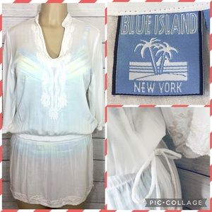 Blue Island NY White Embroidered Swim Cover Up Sm
